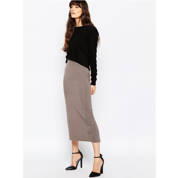 Reiss Callis Wool Knit Slit Back Pencil Skirt